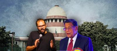 Comedian Kunal Kamra (L) and Attorney General K.K. Venugopal (R). Photo: PTI/YouTube/Wikipedia. Illustration: The Wire