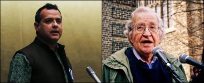 Vijay Prashad and Noam Chomsky. Photo: Wikipedia Commons/Flickr