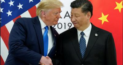US President Donald Trump and Chinese President Xi Jinping at  their bilateral meeting during the G20 summit in Osaka, Japan, Photo: Reuters/ Kevin Lamarque