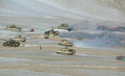 Indian and Chinese troops and tanks disengage from the banks of Pangong lake area in Eastern Ladakh where they had been deployed opposite each other for almost ten months now. Photo: PTI/Indian Army handout