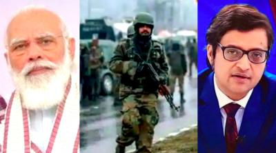 Narendra Modi, the site of the Pulwama tragedy and Arnab Goswami. Photos: PTI