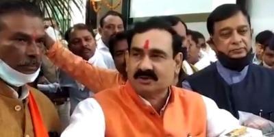 Madhya Pradesh home minister Narottam Mishtra speaks to the media. Photo: Twitter/Narottam Mishra
