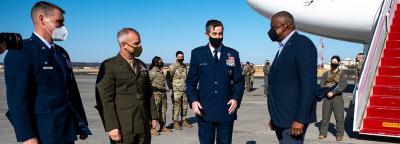 US Secretary of Defence Lloyd J. Austin III arrives at Yokota Air Force Base, Japan, March 15, 2021. Photo: US INDOPACOM/Flickr