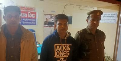 Shringi Yadav, who brutally assaulted a minor Muslim boy for drinking water at temple in UP's Ghaziabad, arrested. Photo: Twitter/@ghaziabadpolice