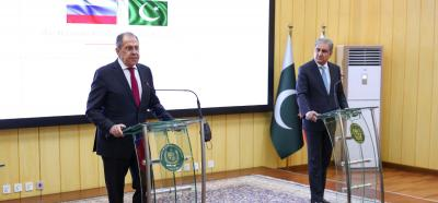 Russia's Foreign Minister Sergei Lavrov attends a news conference following talks with his Pakistani counterpart Shah Mehmood Qureshi in Islamabad, Pakistan, April 7, 2021. Russian Foreign Ministry/Handout via REUTERS