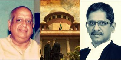 T.N. Seshan, Supreme Court of India and Justice N.V. Ramana. Photos:  Rishabh Tatiraju (CC BY-SA 3.0)/The Wire