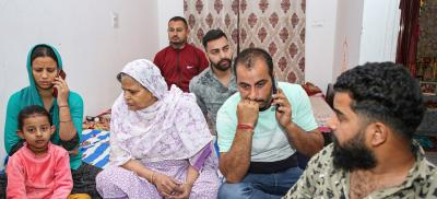 Family members of CRPF Commando Rakeshwar Singh Manhas, at their residence in Jammu, Wednesday, April 7, 2021. Manhas went missing after the ambush in Chhattisgarh's Bastar region. Photo: PTI