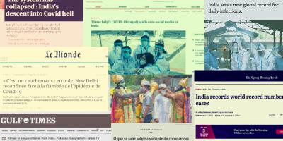 News reports on India's COVID-19 crisis on global media outlets. Illustration: The Wire