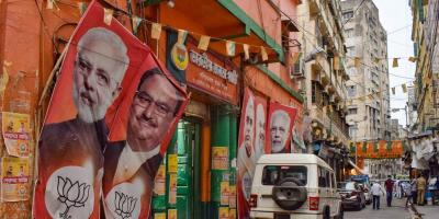 West Bengal BJP office wears a deserted look after partys defeat to TMC in state assembly polls, in Kolkata, Sunday, May 2, 2021. Photo: PTI