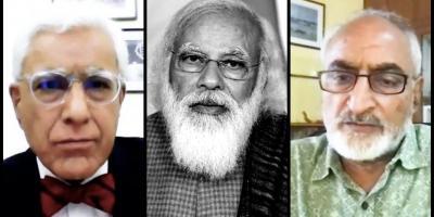 From left to right: Karan Thapar, Prime Minister Narendra Modi and Dr Ramesh Mishra of INSACOG.