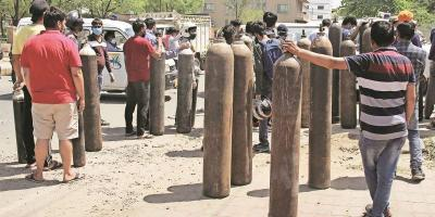 The state is facing a shortage of liquid oxygen amidst a huge surge in cases. Photo: PTI