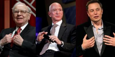 (From the left) Warren Buffett, Jeff Bezos and Elon Musk. Photo: Reuters