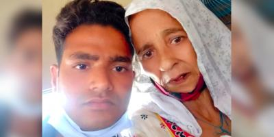 Akhter Hussain with his mother Noor Aisha Begum. Photo: By arrangement