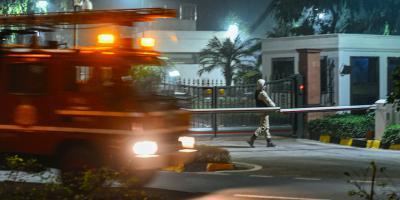 A fire truck at Lok Kalyan Marg. Photo: PTI