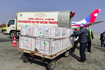 The Covishield vaccine after reaching Nepal. Photo: Twitter/@IndiainNepal