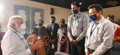 File photo of Prime Minister Narendra Modi at the Bharat Biotech plant in November 2020.