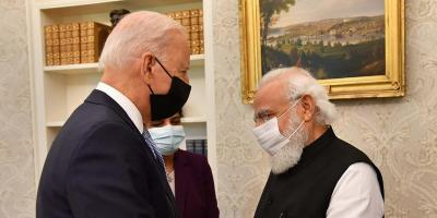 Prime Minister Narendra Modi with President Joe Biden meets in the Oval Office of the White House, Friday, Sept. 24, 2021, in Washington. Photo: PTI