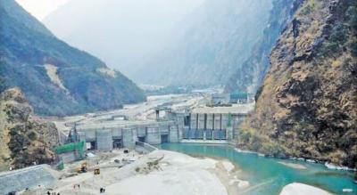 The Upper Tamakoshi hydropower project under construction in 2019. Photo: Wikimedia Commons/ Bishaldev100.