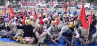 Protest against state govt for loan waiver