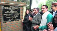 Kirron lays stone for construction of roads at Tribune Colony