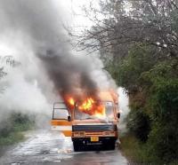 Arni varsity bus catches fire, staff escape unhurt