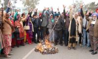Paramedical staff  burn state govt's effigy to protest privatisation