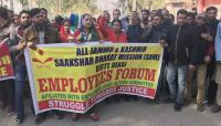 Seeking dues, edu dept staff protest in Reasi dist
