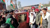MLA gets stone of project laid by elderly resident