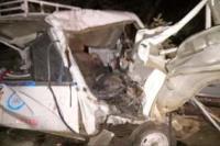 दो वाहनों में भीषण टक्कर, एक ही परिवार के 5 लोगों की मौत 15 घायल