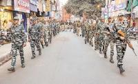 चुनाव के मद्देनजर कमिश्नरेट पुलिस ने निकाला फ्लैग मार्च