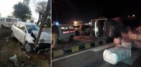 कार पेड़ से टकराने व असंतुलित होकर टैम्पो पलटने से चालक घायल