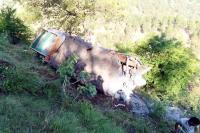 दर्दनाक हादसा : टक्कर के बाद ट्रक-ट्रैक्टर गहरी खाई में गिरे, एक की मौत