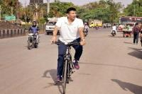 जीतू पटवारी ने साइकिल से किया सरस्वती नदी का निरीक्षण, स्वच्छता को लेकर BJP पर उठाए सवाल