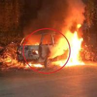 शिमला में कार, पिकअप और बाइक में लगी भयानक आग