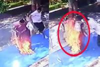 मंदिर में पूजा करते हुए अचानक जलने लगी महिला