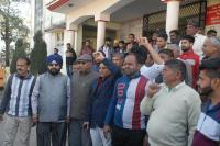 कांग्रेस ने आरटीओ लखनपुर के खिलाफ किया प्रदर्शन, लगाए नारे