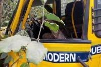 बच्चों से भरी स्कूल बस पेड़ से टकराई, ड्राईवर की मौत